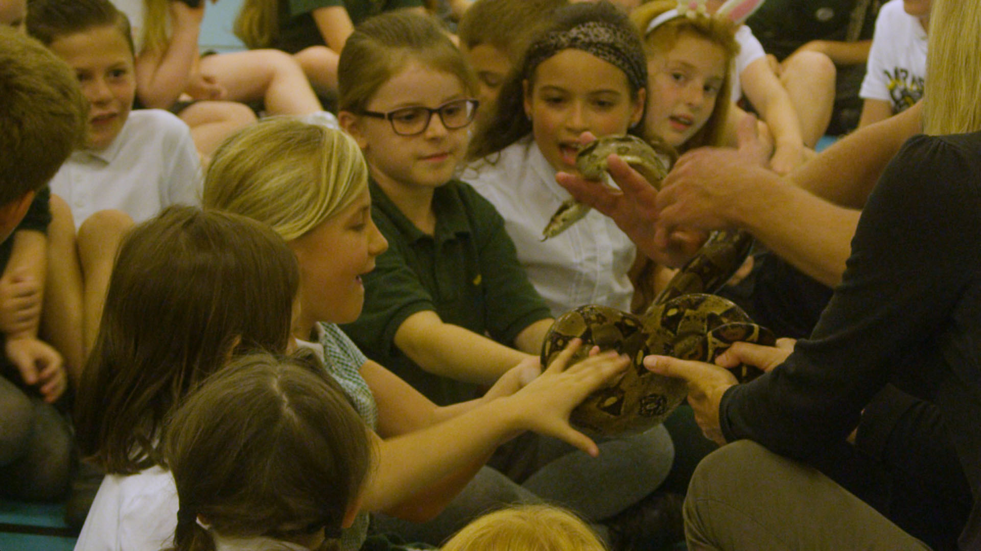School children holding a snake