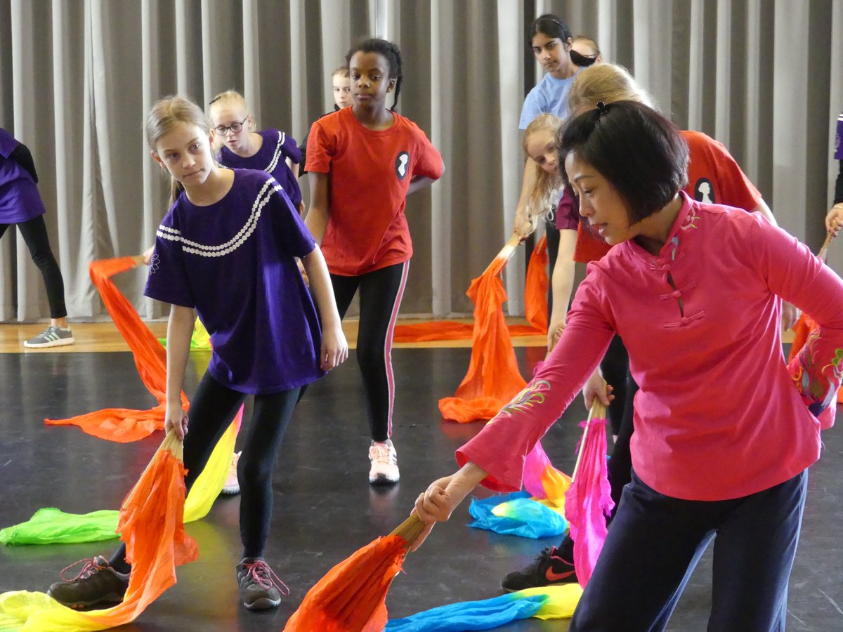 School children learning chinese dance with teacher