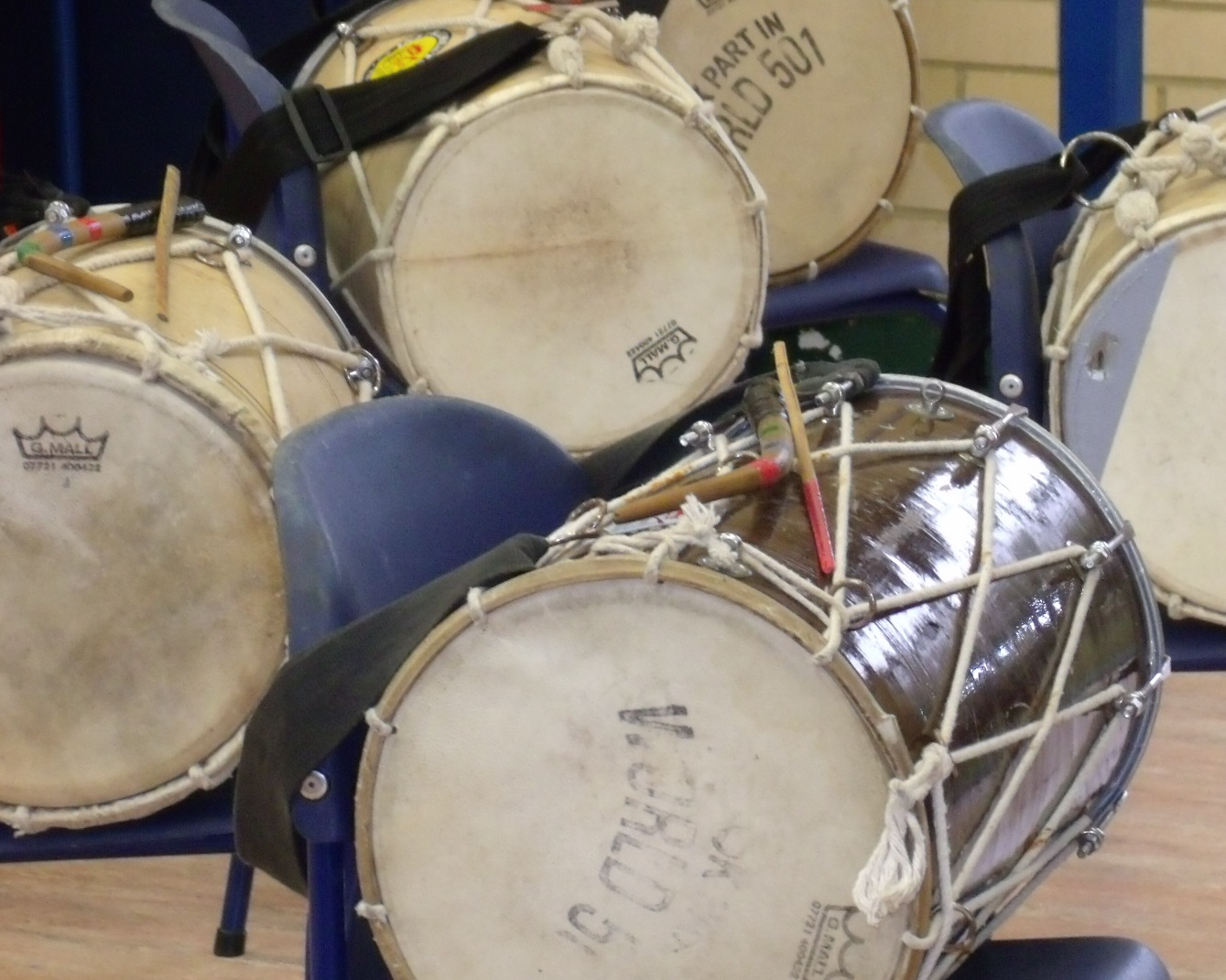 Selection of Indian drums on school chairs