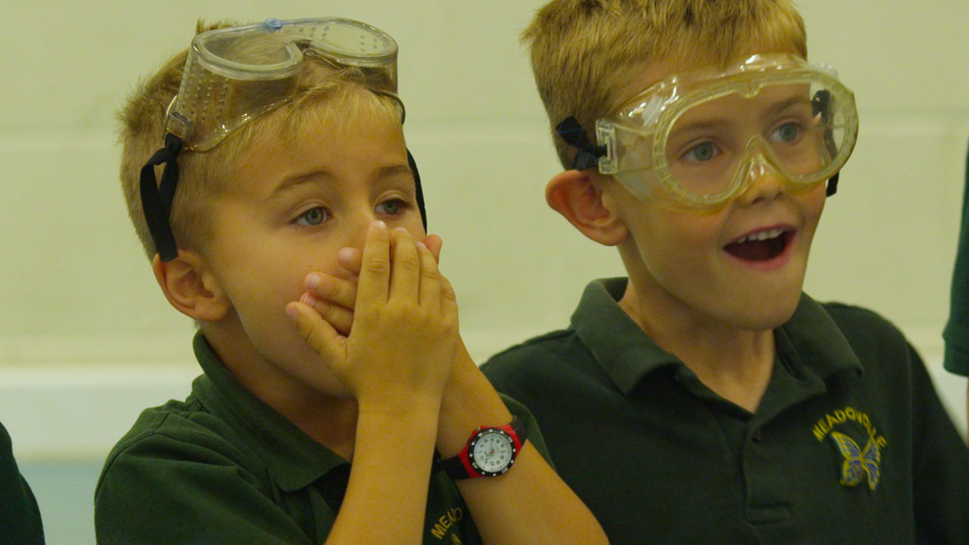 Children watching science experiment