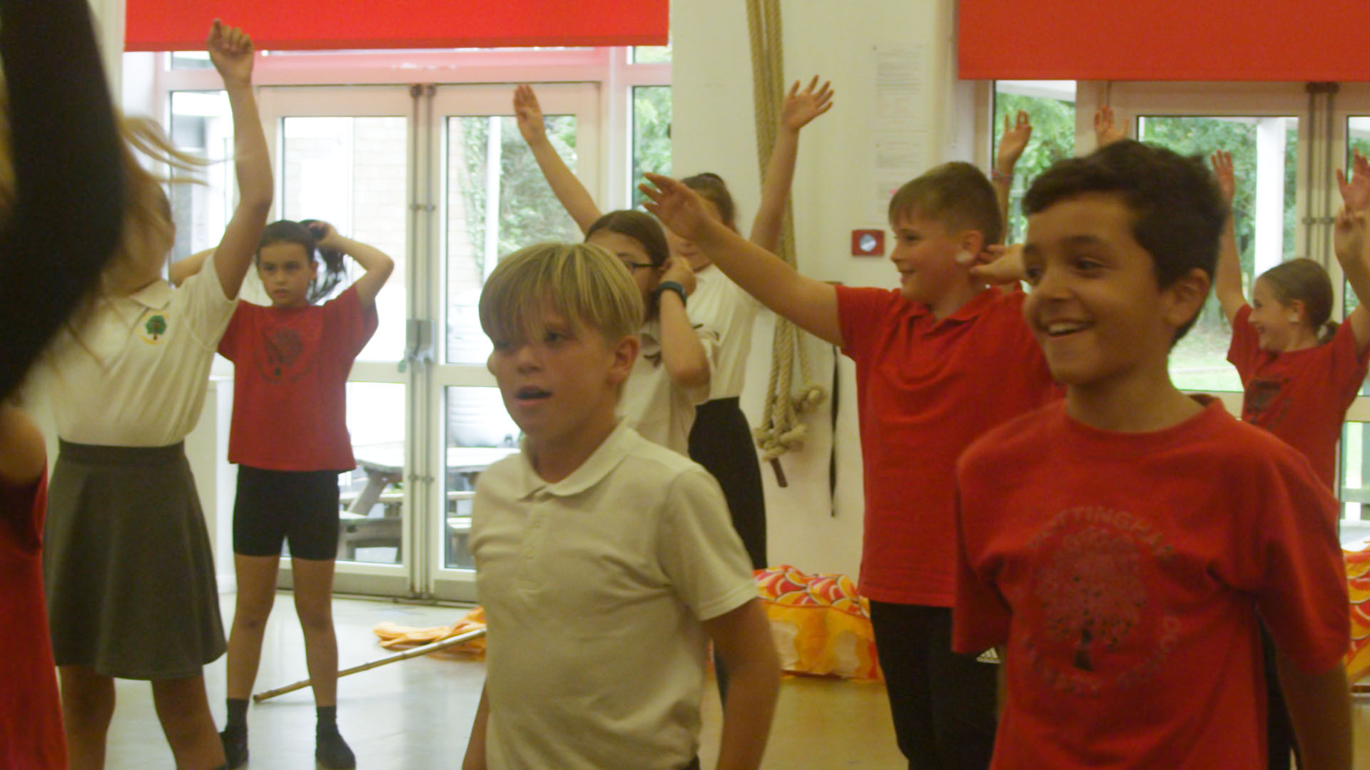 School children performing South American dance