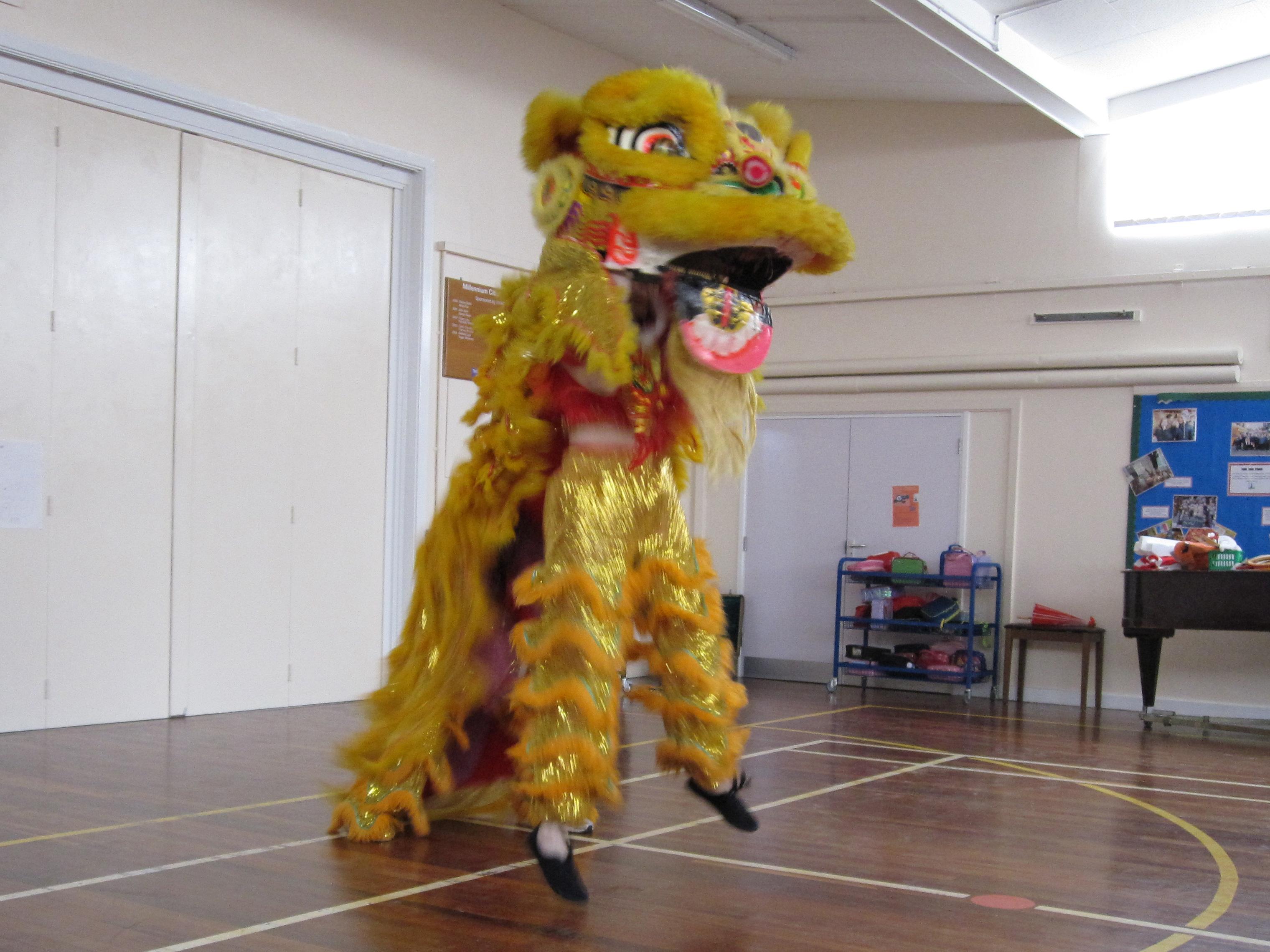 Yellow lion dance